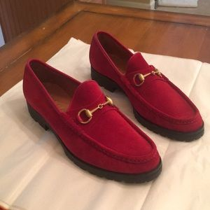 Men's Gucci red suede loafers